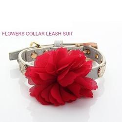 Luminous Dog Lead Pretty Red Flowers collar leash Suit ZQQS053