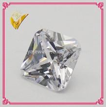 fake diamond square cut white synthetic gem stone cut corner