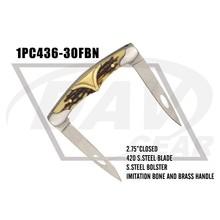 "2.75"" closed imitation bone+brass handle zipped case pocket knife two blades(1PC436-30FBN)"