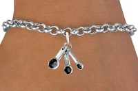 Zinc Alloy Antique Silver Tone measuring spoons Charm Bracelet lead and nickle free(OS185235)