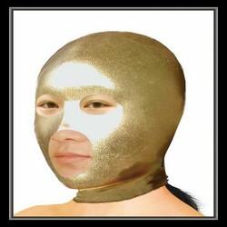 Bare mouth&eye golden glue hood/fetish mask/adult sex toys product