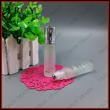 1/3 oz refillable clear frosted roll on bottle with stainless steel ball