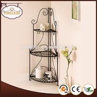 Hot sale wrought iron 3 tier bathroom corner shelf