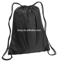 Drawstring Cinch Sack Backpack School Tote Gym Beach Travel Bag BLACK