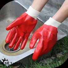 SRSAFETY working gloves cotton interlock fully dipped red PVC glove