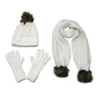 Girls' acrylic cashmere jacquard fleece lining hat beanie with rhinestones and fake fur pom pom and matches scarf gloves set