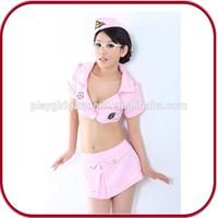 cheap sexy pink air hostess fancy dress halloween costume PGFC-3296