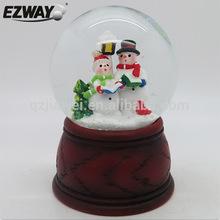 Resin & glass snow globe christmas ornament crafts white snowmen designs large christmas snowman snow globe