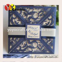 INC38 Fashional design four fold square wedding cards YOYO craft invitation cards