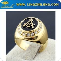 Titanium Masonic Championship Wedding Ring, Men Thumb Gold Plated Ring