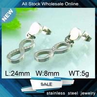 2015 stainless steel infinity symbol stud crystal earrings