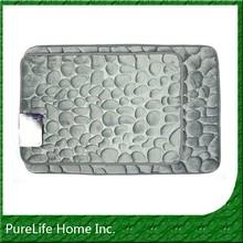 Pebble Stone Embossed Memory Foam Bath Rug Set Entrance Door Matting
