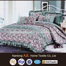 Korean stylish design pigment printed 100% cotton competitive price bed set