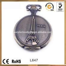 2014 new design Eiffel tower Japan Movement Quartz pocket watches, ntique brass eiffel tower pocket watches