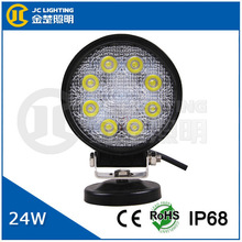 hot sell cheap 24w round led work light for bike, truck, track, tractor, jeep, mini jeep, electronic truck led trailer tail ligh