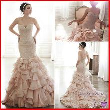 Designer Shiny Beads Ruffles Organza Luxury Mermaid Wedding Dresses 2015