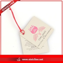 Sinicline Custom Logo Printing Paper Hang Tag with Matched String