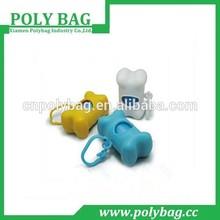 blue color dog poop bag with holder bone