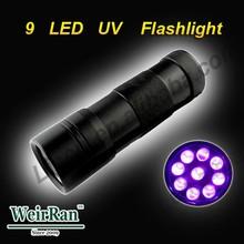 (1500198) Aluminum Alloy 3*AAA Battery 9 LED Power Source and High Power UV Flashlight