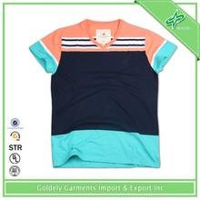 Short sleeve men's yarn dyed polo T shirt ocean stripe