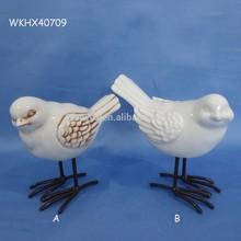 Small white craft handmade ceramic bird
