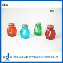 mini colored glass spice jar with clamp lid /ceramic lid