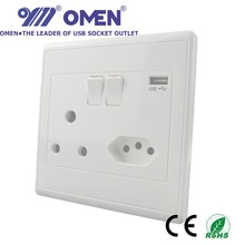 India Brazil South Africa 2.1A Standard USB Outlet Wall Panel Switch & Socket