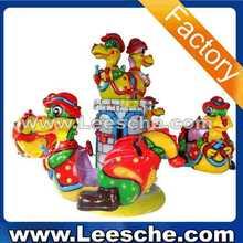 Amusement park rides kiddie ride fiberglass toys 3 seats mini carousel horse for sale spin dragon