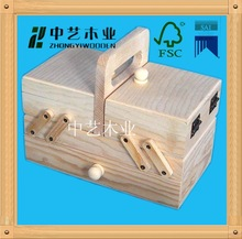 natural colour wood sewing box lively folding wooden sewing box