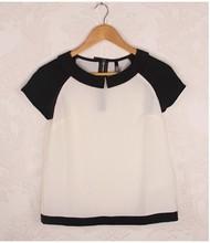 HIJ-14-LB-12-005 white and black woman blouse