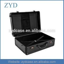 Black Carry Trolley Rolling Aluminum Laptop Case w/Wheels, ZYD-TL029