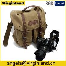 2808 Well-made Retro Casual Khaki Canvas Shoulder Messenger DSLR Camera Bag for Outdoor