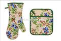 تصميم جديد الطباعة 2015 الزهور والنباتات( فرن قفاز وعاء حامل) مجموعة المطبخ