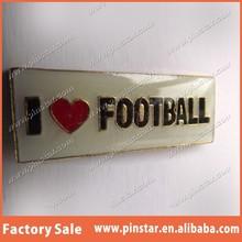 2015 Wholesales High Quality Custom I LOVE FOOTBALL NRL ARL AFL Soccer Rugby League Union Badge Pin