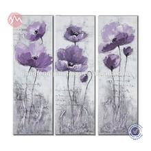 Purple flower art decor canvas painting 3 panel wall art