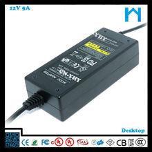12 volt 5 amp power adapter 60w CSA UL/cUL FCC CE GS SAA Certificated