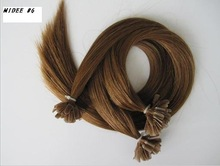 "natural Colored Peruian 20"" Chestnut Brown U tip Hair Extension"