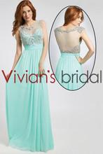 Fancy See Through Back Long Chiffon Lebanon Evening Dress With Beads GS044