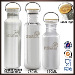 Wholesale BPA free eco-friendly bamboo lid 304 18/8 ss thermos bottle with own logo