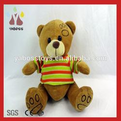 Custom cute 25cm sitting plush smile teddy bear with t-shirt
