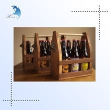Custom printed maple wooden wine rack, wine bottle carriers with handles