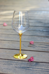 2015 new design lead free clear crystal 518ml crystal red wine glass with imitation gold stem