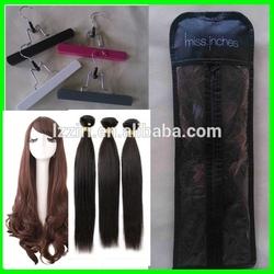Custom hair extension plastic bag Hair packaging bags with hanger