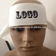 Seu logotipo de artes marciais headband material de algodão branco tamanho 6 x 92 cm