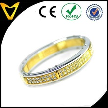 2015 Latest Mens Jewelry Wholesale, Cheap Cuff Bracelet for Men, Mens Gold Tone Artificial Diamond Stainless Steel Cuff Bracelet