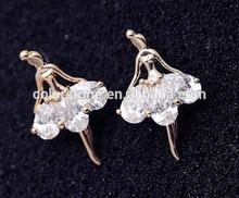 New Arrival Luxury 18k Gold stud Earrings Champagne Wire Zircon Crystal Female Fashion Jewelry Austrian Crystal Wholesale cc
