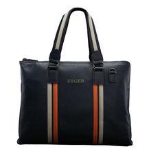 Feger Fashion Color Contrast Male Handbag Genuine Leather Slim Men Bag