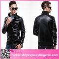 Baratos por atacado preto malha Emboss Concise jaqueta de couro fortes produtos para homens