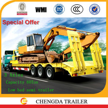 Thicken edge beam lowbody semi trailer for African countries road condition