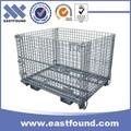 empilhadeira barato zinco dobrável de armazenamento de paletes de metal cesta de arame